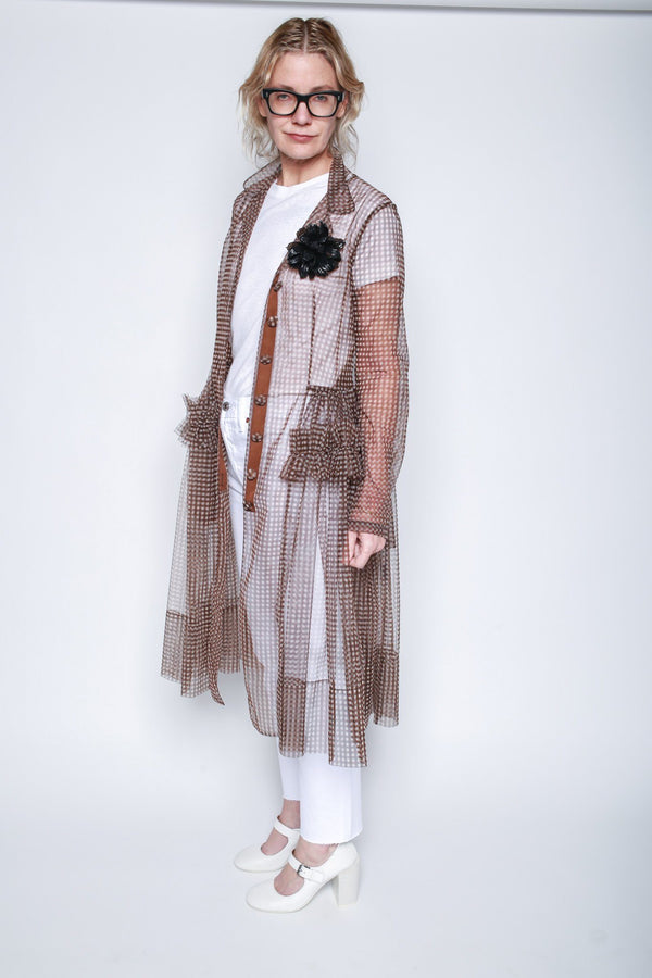 Molly Goddard Tiffany Tulle Coat, Brown Gingham Jackets + Coats