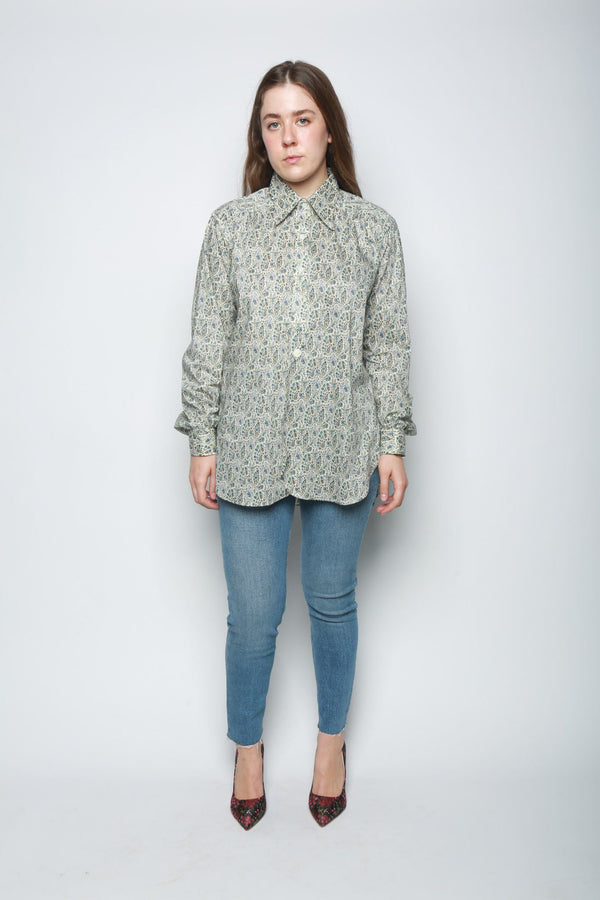 Needles Paisley Button Up Shirt, Blue + White Tops