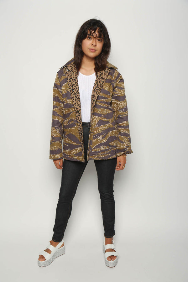Needles Needles Reversible Field Jacket Cotton, Leopard/Tiger Camo Coats + Jackets
