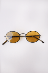 Oliver Peoples The Row Designer Sunglasses Empire Suite Vintage Matte Black + Deep Amber Glass Fashion Eyewear Accessories Designer Luxury Mona Moore