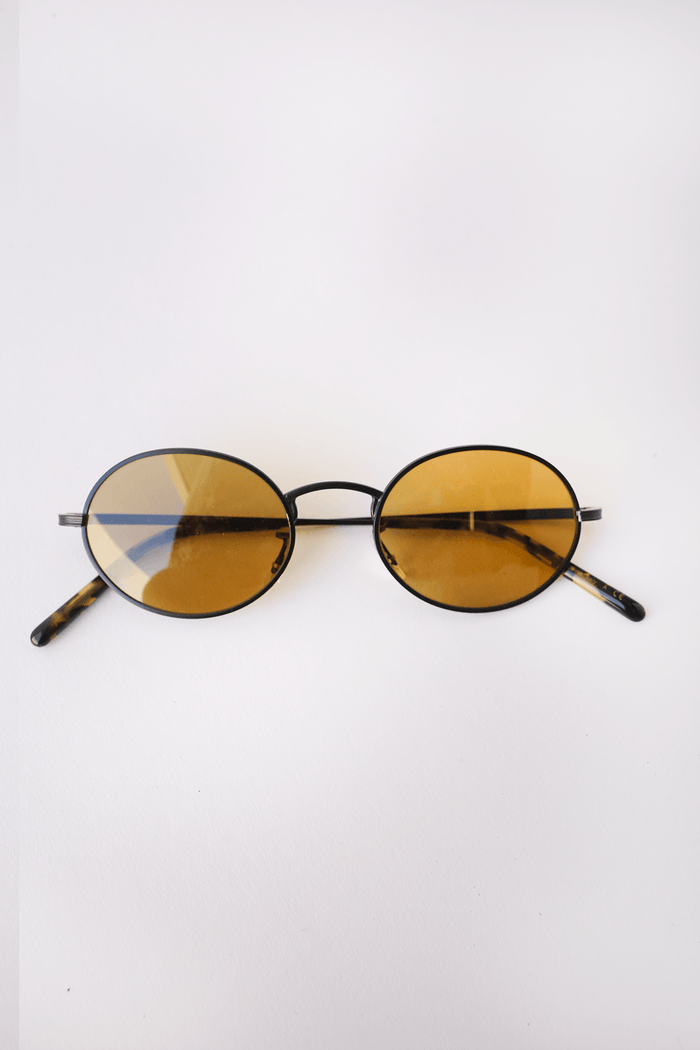 Oliver Peoples The Row Empire Suite, Matte Black + Deep Amber Glass Sunglasses