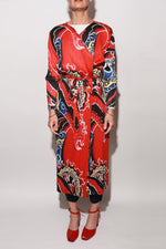 Pleated Flame Coat, Multicolor Red