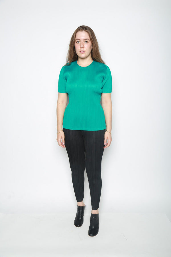 Issey Miyake Pleated Short Sleeve Top, Emerald Green Tops