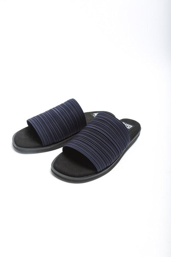 Issey Miyake Pleated Slide Sandals, Navy + Black Sandals