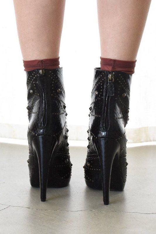 ac4ad9248501 Rodarte Size 41, Embossed Studded Leather Ankle Boot, Black Boots