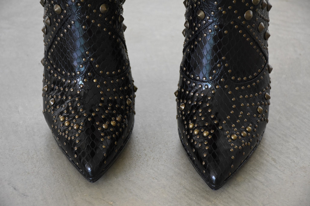 Embossed Studded Leather Ankle Boot, Black