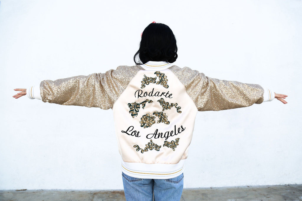 Limited Edition Los Angeles Bomber Jacket, Gold Sequin + Floral Lace Embroidery