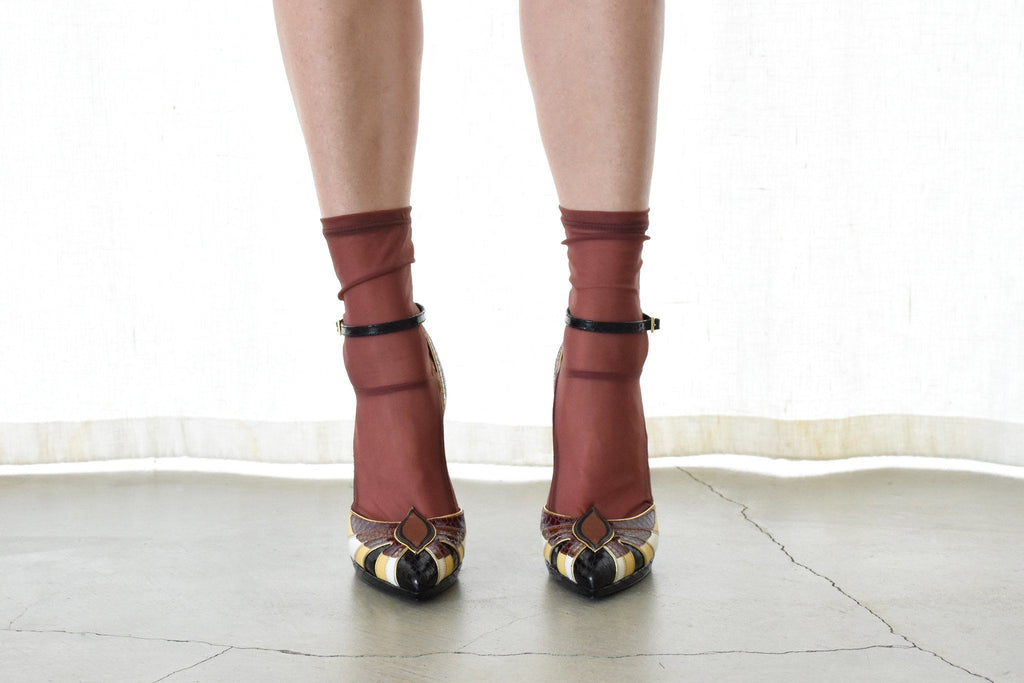 Closed Toe Heel, Black + Pale Yellow + Burgundy + White