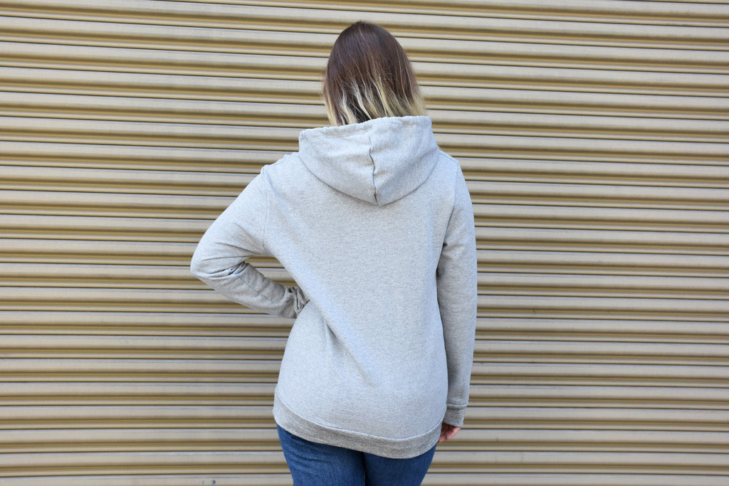 Rohearte Foil Thick Fleece Hoodie, Heather Grey + Gold