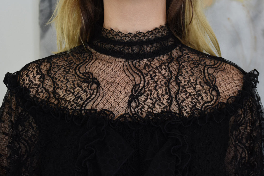 Lace and Honeycomb Tiered Ruffle Blouse, Black