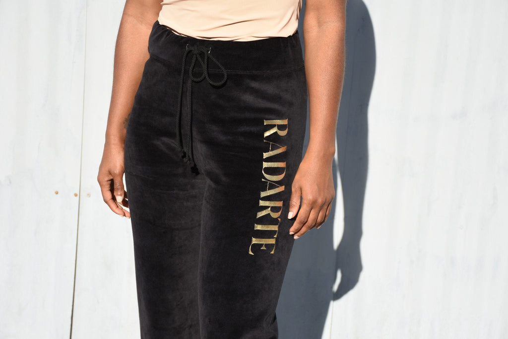Velour Sweatpant, Black + Gold Rodarte Print