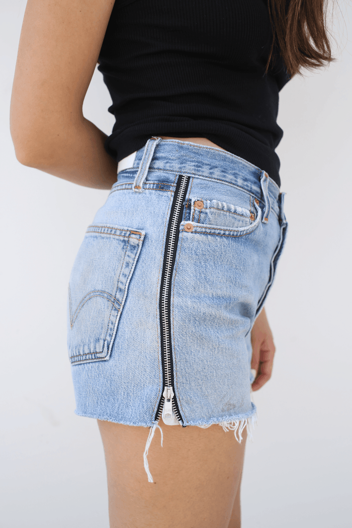 RE/DONE Side Zip Short, Indigo, Blue Jean Shorts Levi's REDONE
