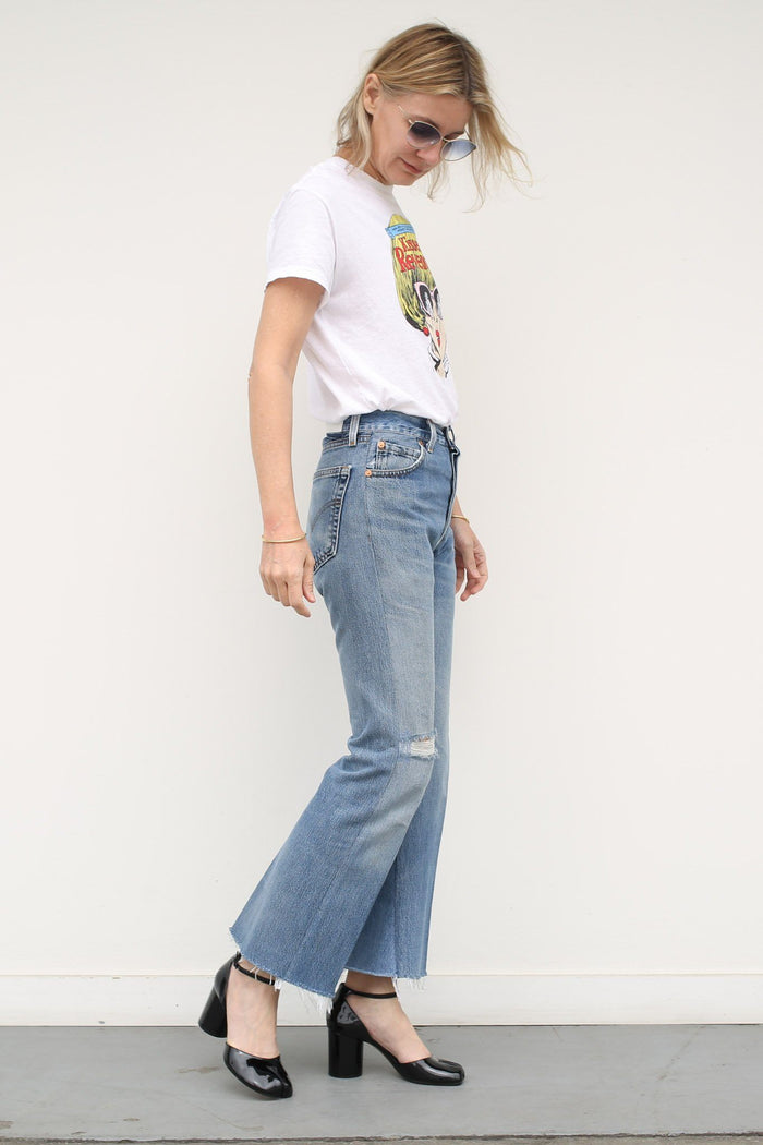 RE/DONE High Rise Ankle Crop Flare, Indigo Bottoms