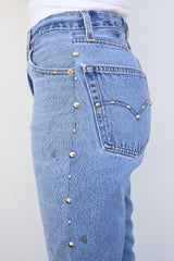 High Rise Ankle Crop Flare With Studs, Indigo, Bottoms, RE/DONE, Mona Moore
