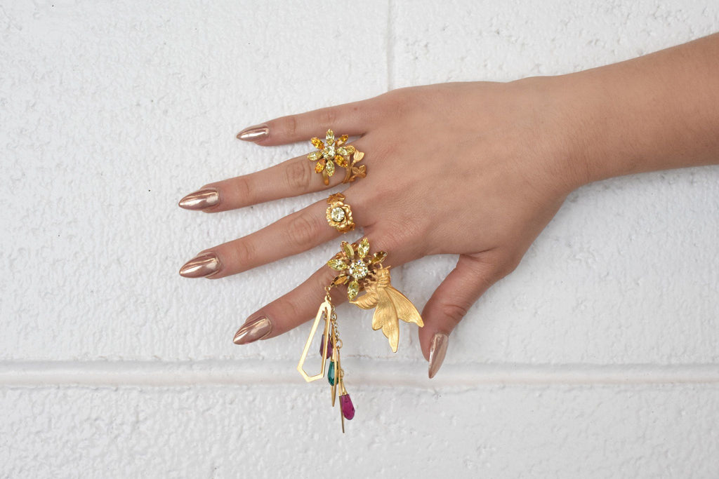 Bee Ring Set with Prism and Swarovski Crystal Details, Brass