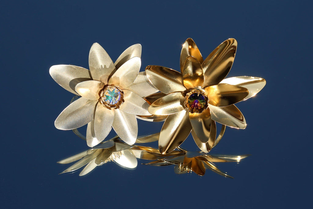 Lotus Flower Arm Cuff with Swarovski Crystal Detail, Gold