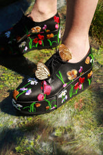 Robert Clergerie Anyang Floral Embroidered Leather Oxfords, Black Heels
