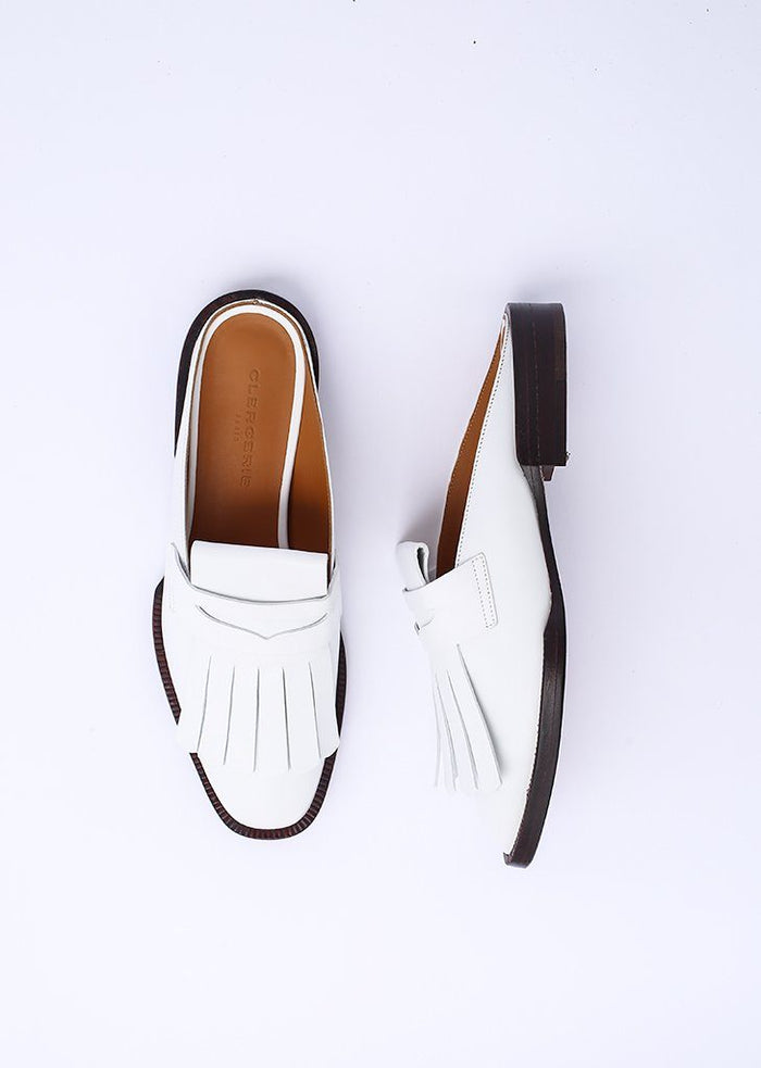 Robert Clergerie Yumip Leather Loafer Mule, White