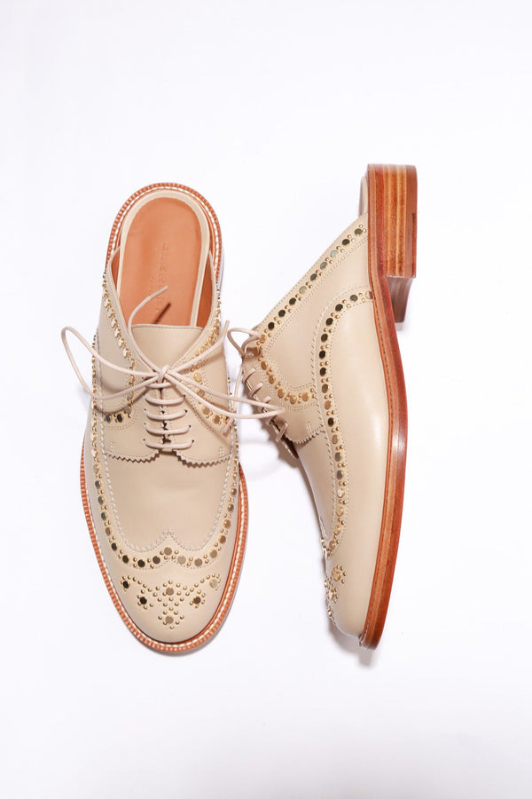 Robert Clergerie Amber Studded Wing-Tip Mule, Beige Flats