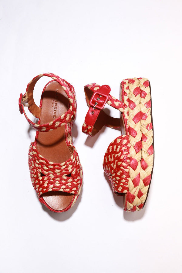 Robert Clergerie Artemis Sandals, Red Raffia Sandals