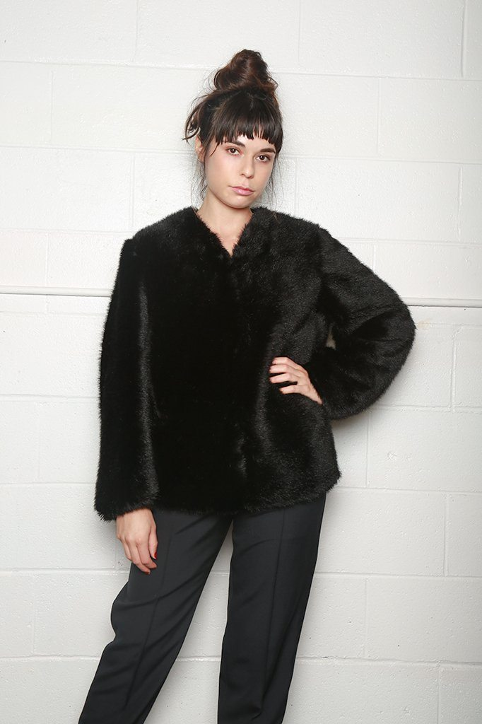 Faux Fur Jacket, Black, Coats + Jackets, Sara Lanzi, Mona Moore