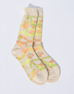 Antipast Knitted Puppy Print Socks, Ivory + Citrus Hosiery