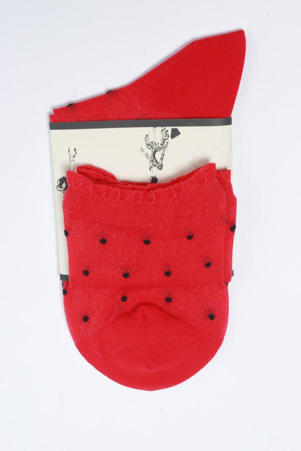 Leur Logette Dot Socks, Red Hosiery