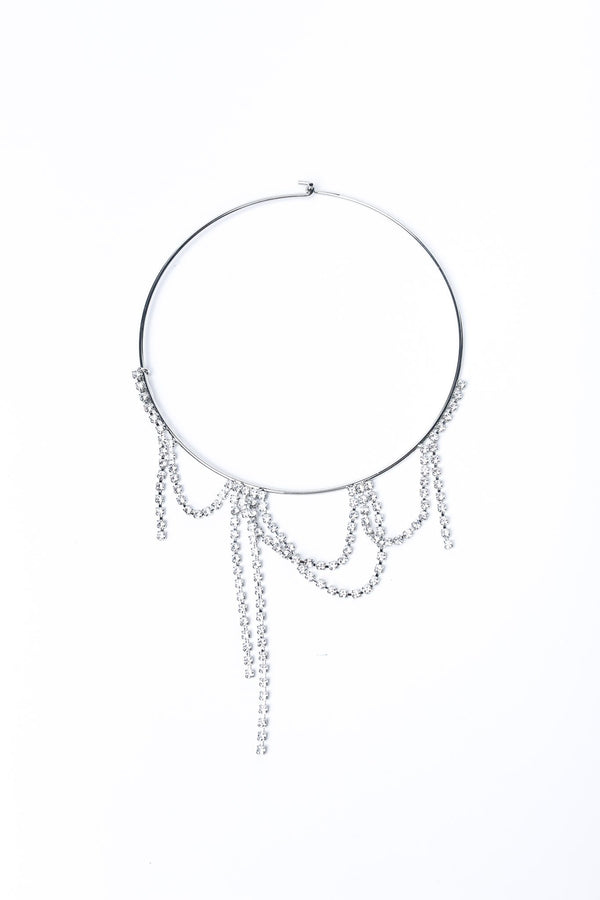 Joomi Lim Statement Choker with Crystal Fringes, Rhodium + Crystal Jewelry
