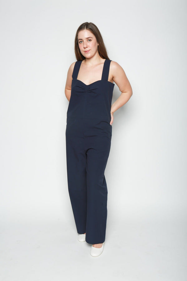 Sara Lanzi Straight Cut Jumpsuit, Navy Blue Coats + Jackets