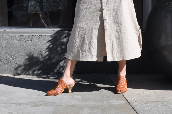 Cherevichkiotvichki Vanishing Thread Sandal, Burnt Orange Heels