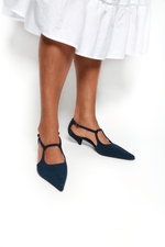 The Row Bourgoise Salome Kitten Heel, Navy Shoes