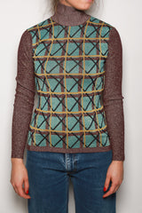 Alexa Chung Lurex Roll Neck Top, Multicolored Tops