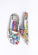 Sticker Slides, White + Multicolor