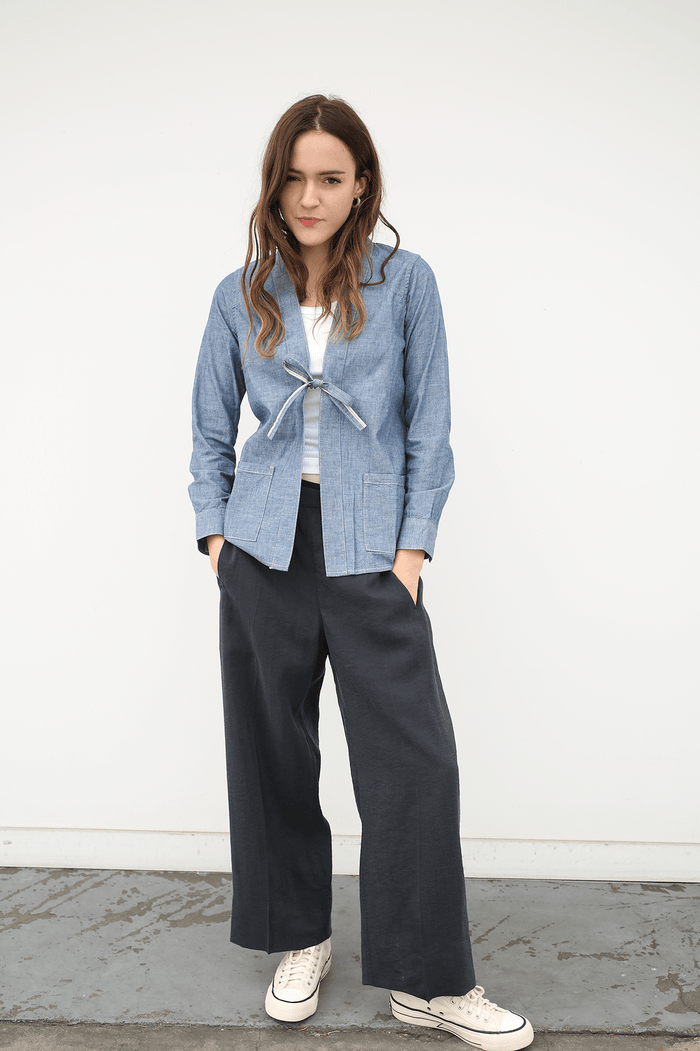 Lhamo Shirt Long Chambray, Blue, Tops, Visvim, Mona Moore