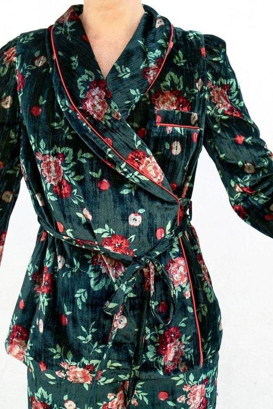 Vivetta Addis Abeba Smoking Jacket with Belt, Forest Floral Tops