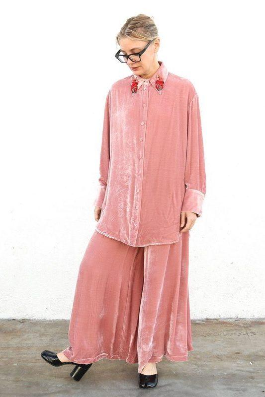 Vivetta Size 38, Berna Long Trouser with Pocket, Rose Bottoms