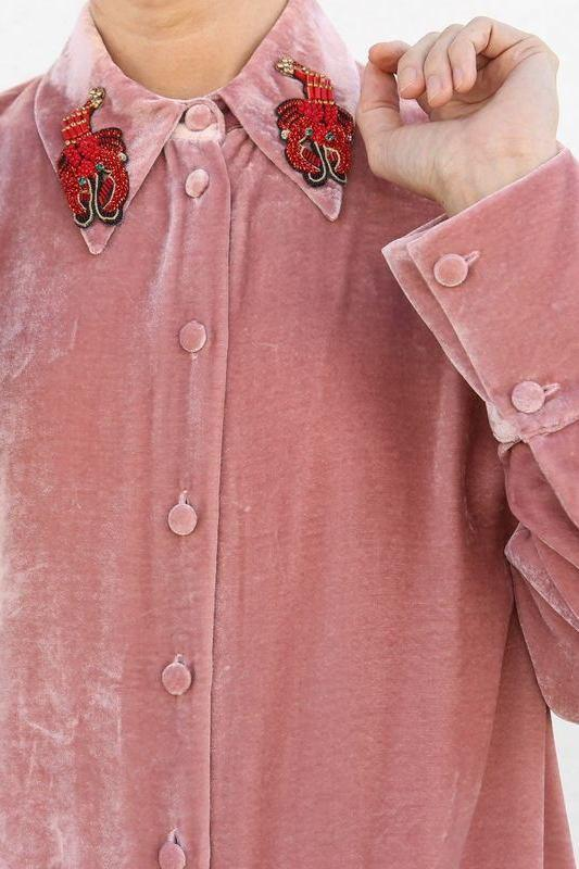 Vivetta Size 42, Austin Long Sleeve Overshirt with Patch, Rose Tops