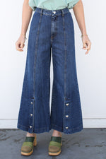 Egeone Long Bell Bottoms with Heart Button Detail, Blue Denim, Bottoms, Vivetta, Mona Moore