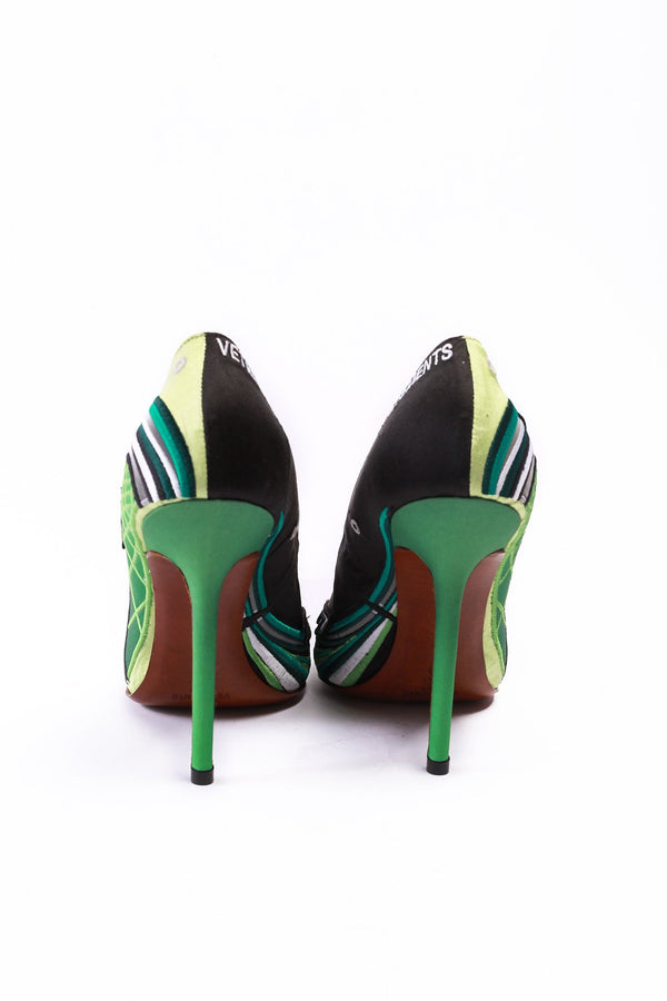 Vetements Size 41, Embroidered Race Pumps, Green Shoes