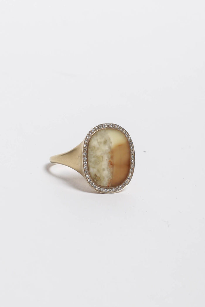 Vintage Vintage Monique Péan Ring, 18K Recycled White gold + Fossilized Walrus Tusk + Pave Diamonds Jewelry