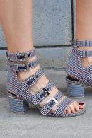 Laurence Dacade Nora Striped Canvas Sandal, Navy Heels