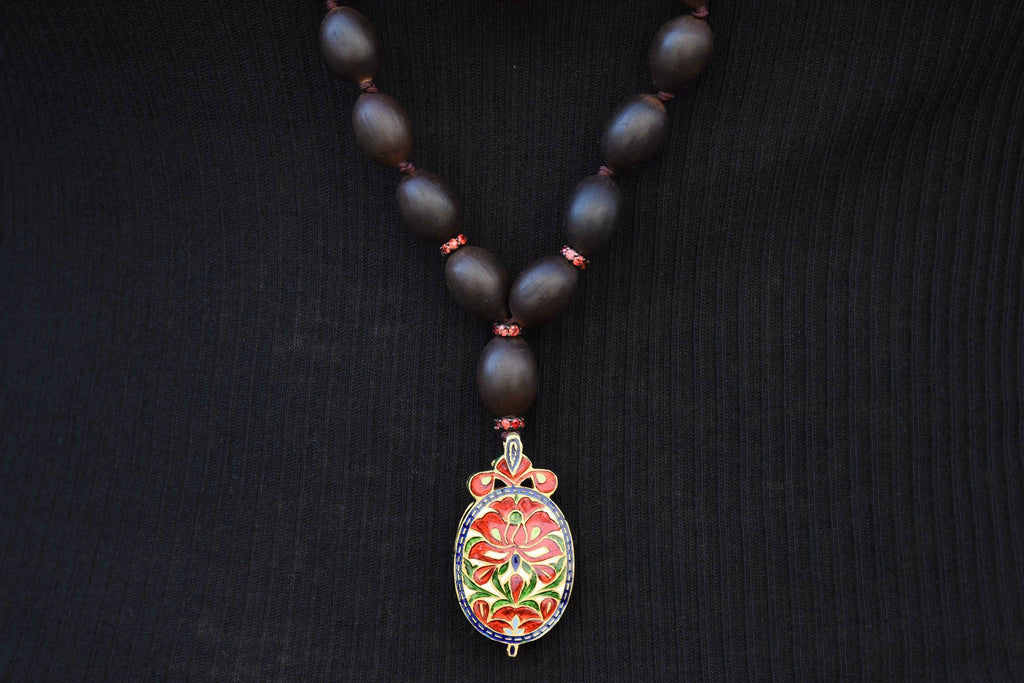 Lotus Bead Necklace with Multi Jewel Charm