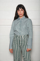 Alexa Chung Deep Cuff Classic Shirt, Green Stripe Tops