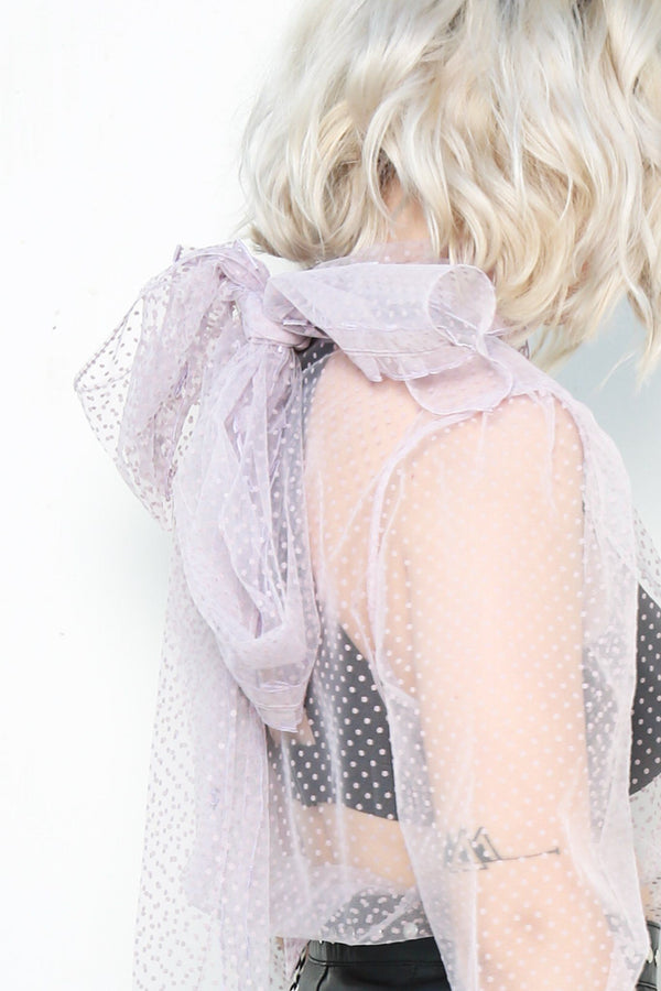 Alexa Chung Scarf Blouse, Lavender Tops