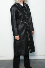 Studded Leather Coat, Black