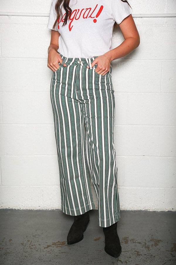 Alexa Chung Wide Leg Cropped Jean, Stripe Print Green Bottoms