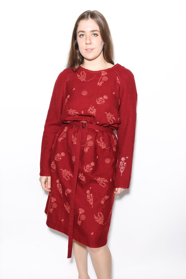 Antipast Embroidered Belted Dress, Red Dresses