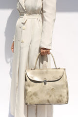 Medium Lock Bag, Mottled White