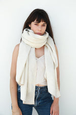 Linen Wool Scarf, White