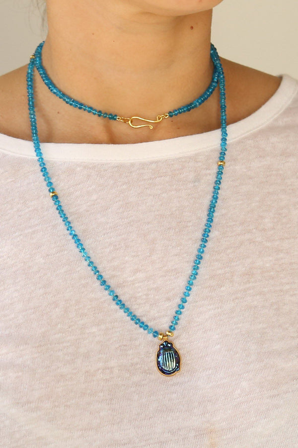 Darlene de Sedle Beaded Necklace, Apatite + Gold Beads + Tiffany Glass Scarab Jewelry